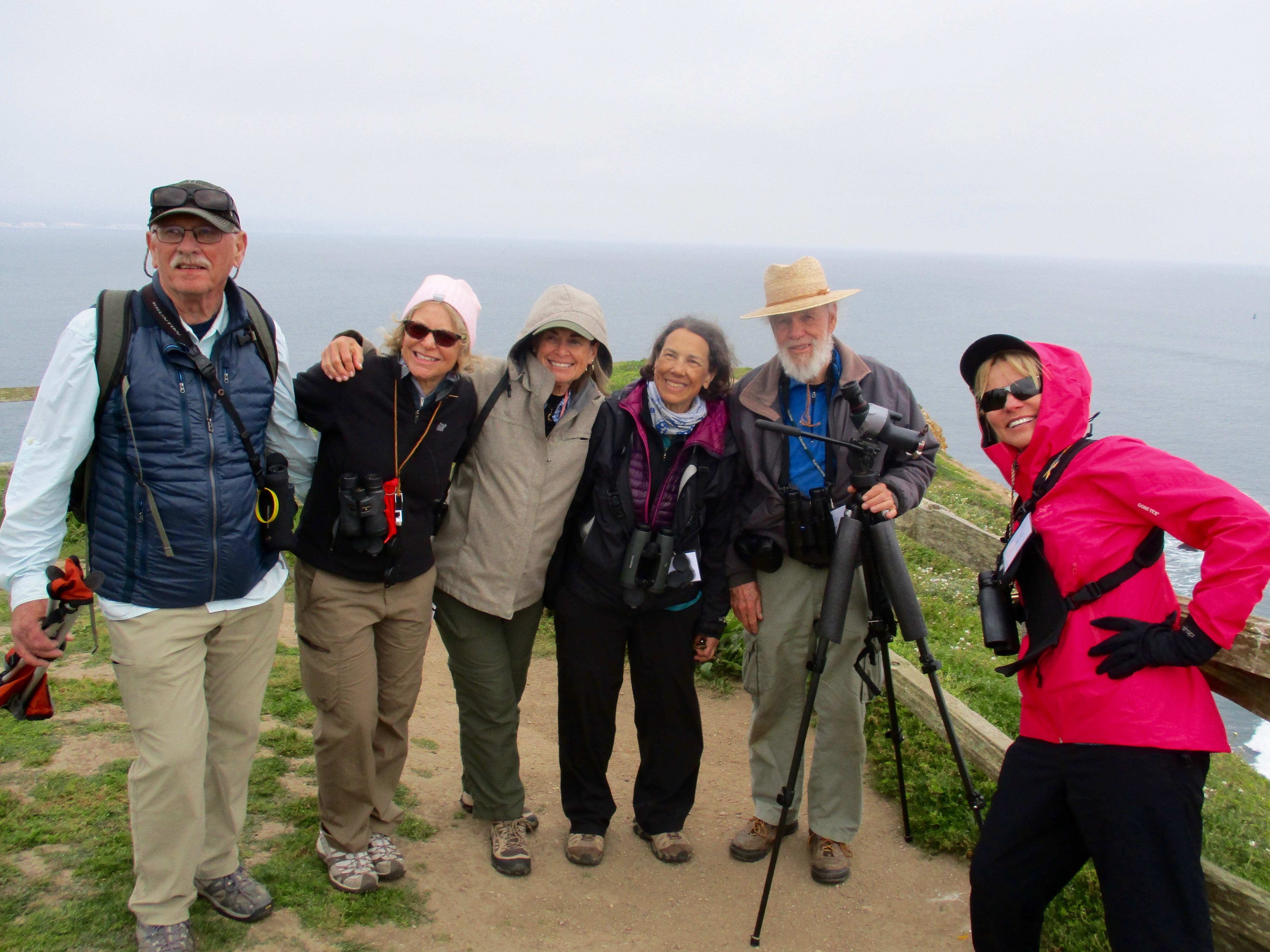 The Valley Vixens, my nature study group, flew to California for a long week-end of whales, wildflowers and birds. - with our guides at Chimney Rock, Point Reyes National Seashore