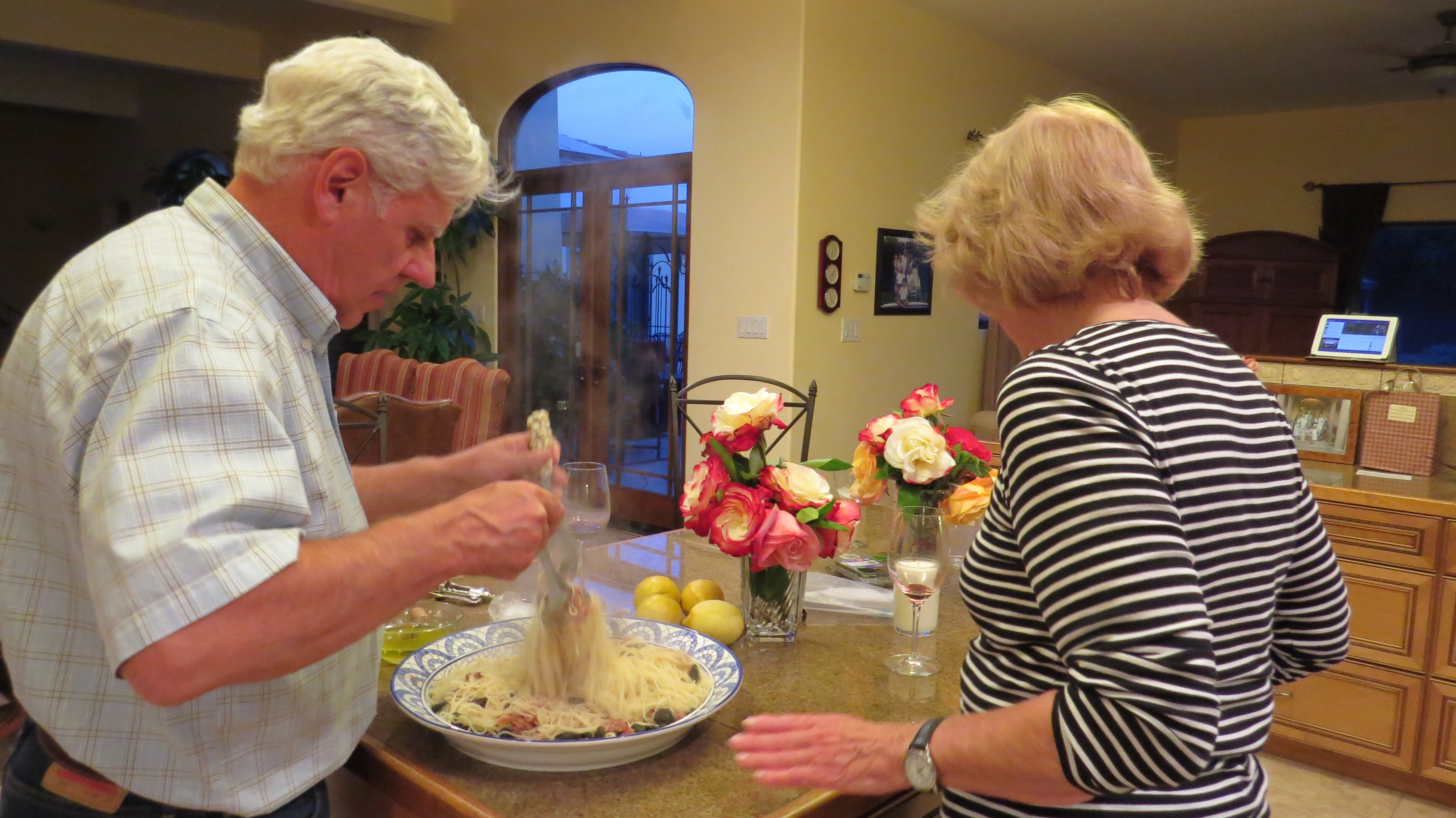 Susan made the pasta topping while David boiled the pasta (perfect) and tossed it together.