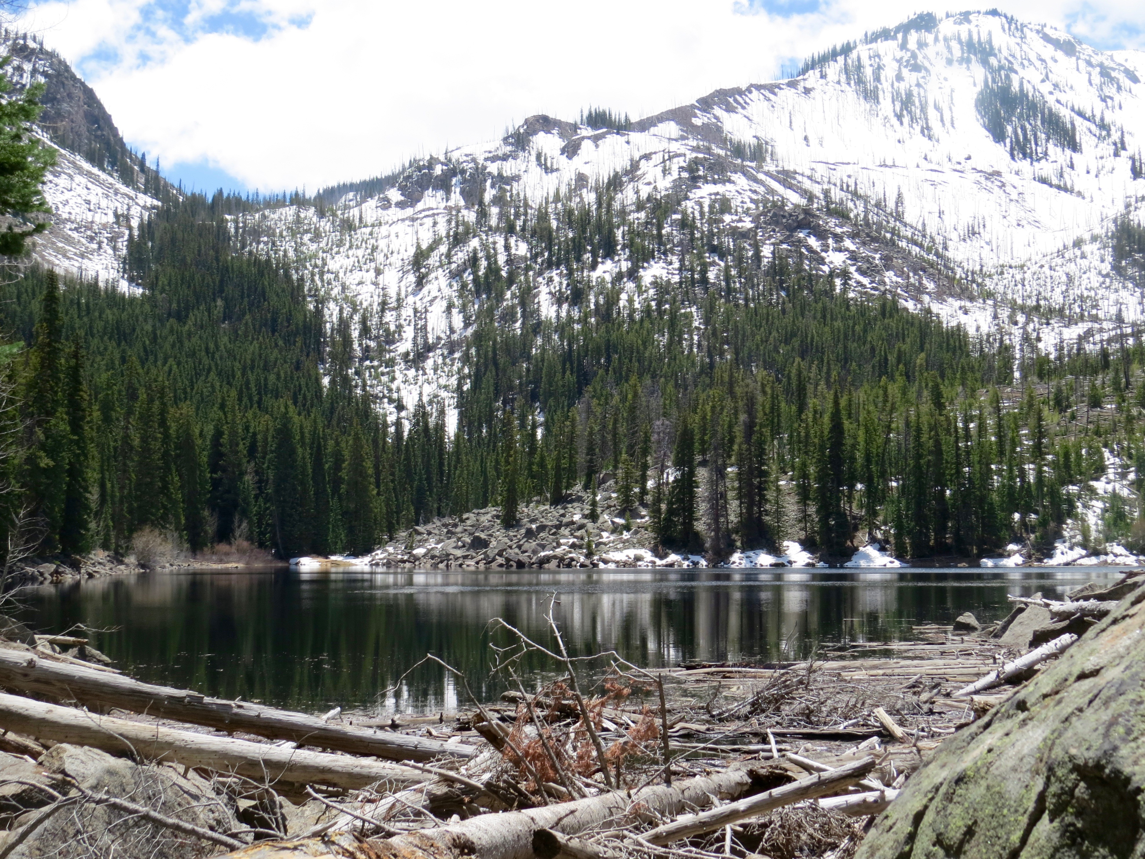 I EXPERIENCED MY OWN MEMORABLE ADVENTURE THIS WEEK ON MY FIRST VOLUNTEER USFS RANGER DUTY.  I HIKED THROUGH SNOW AND FALLEN TREES BUT FINALLY REACHED BEAUTIFUL WELLER LAKE.