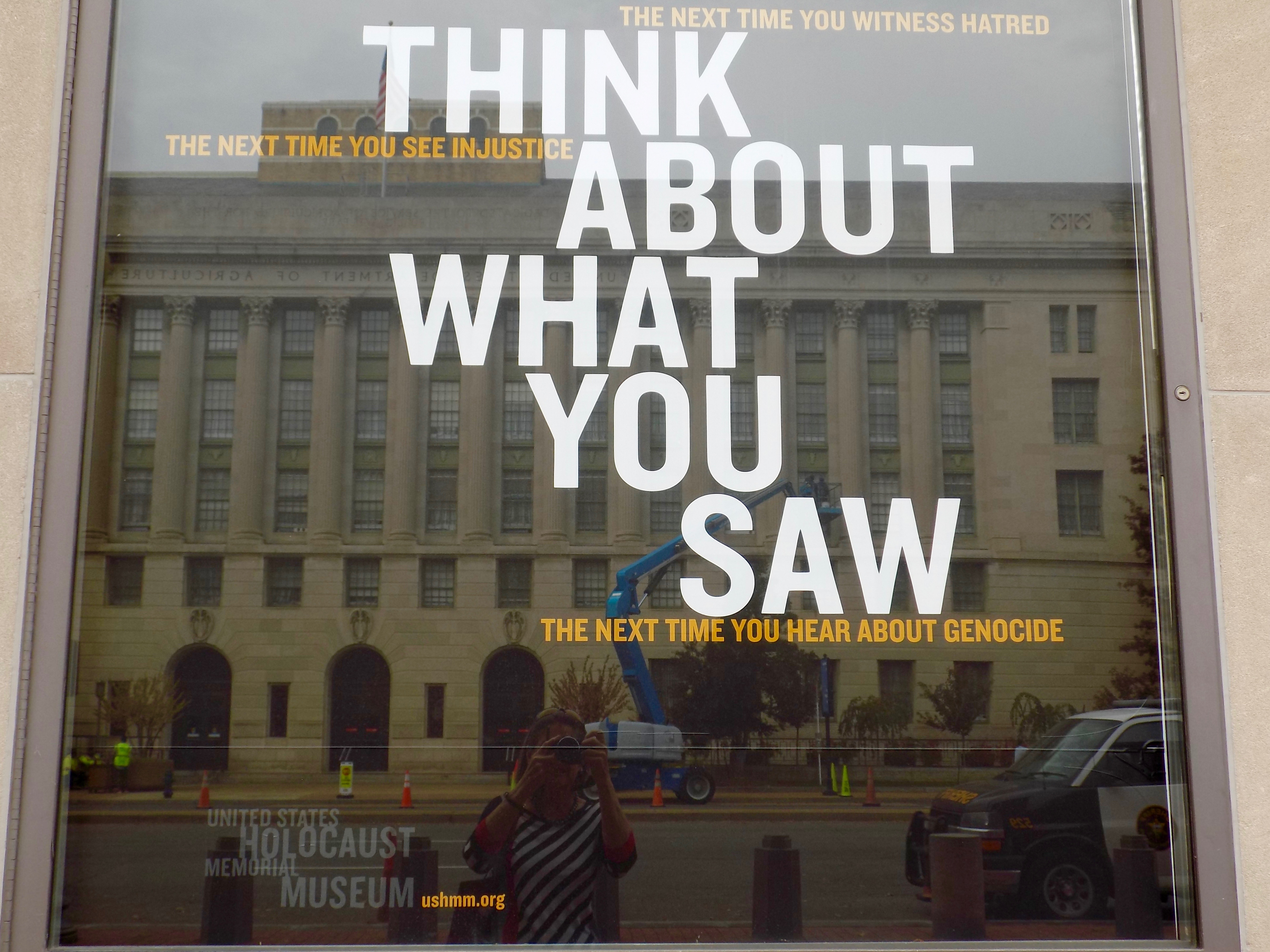 WHEN LEAVING THE HOLOCAUST MUSEUM, VISITORS ARE GIVEN SOME FOOD FOR THOUGHT.
