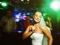 Beautiful wedding dance in soap bubbles, blurred
