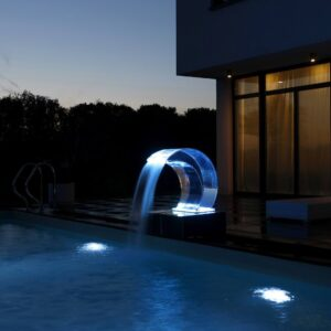 002 Covertech wellness stainless steel 316 acrylic glass massage features luxury outdoor water attraction Florida california led lights hamptons southampton ideal jdeal hotels spa Aquarius Gush shower illumination system