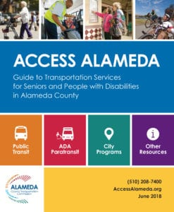Cover page of the Access Alameda Guide to transportation services for Seniors and people with disabilities in Alameda County.