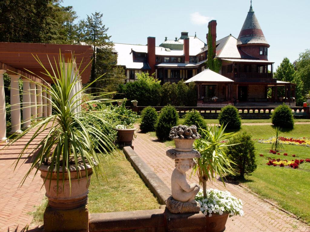 Garden with mansion in background