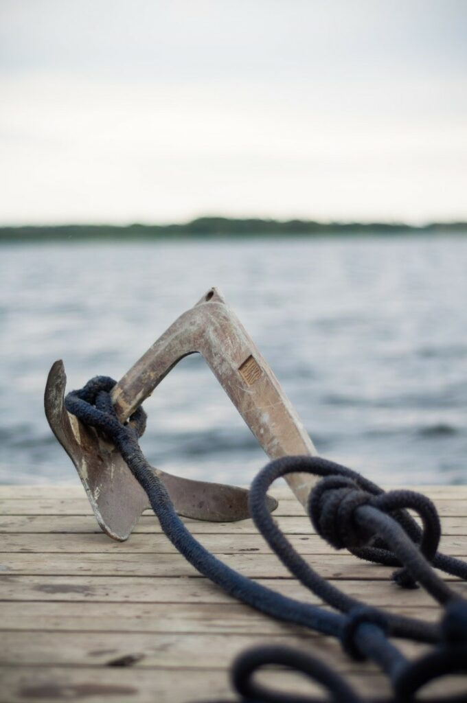 anchor and rope on dock