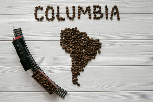 Map of the Columbia made of roasted coffee beans