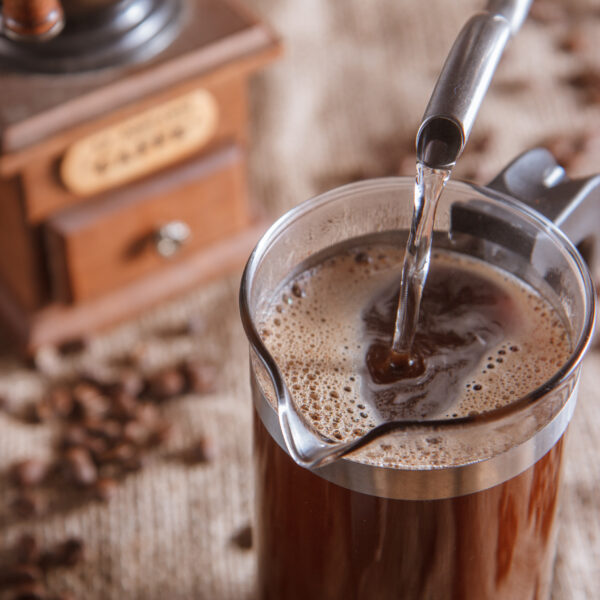Water pouring in french press