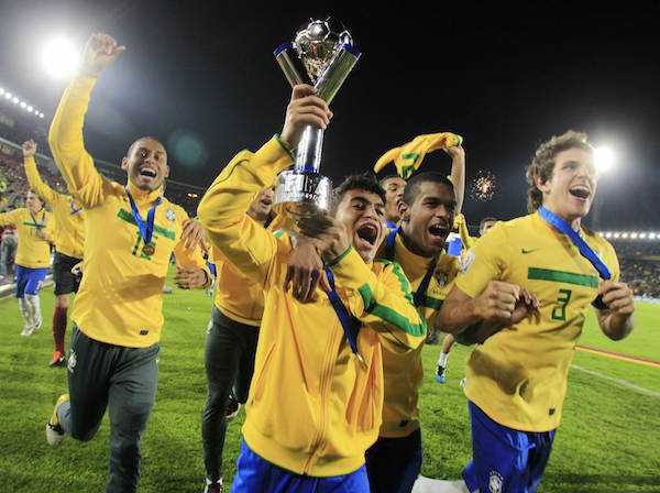 Brazil' soccer players celebrate after defeating Portugal in the FIFA U-20 World Cup final soccer match against in Bogota