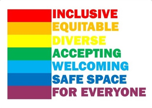 Inclusive, Equitable, Diverse, Accepting, Welcoming, Safe space for everyone