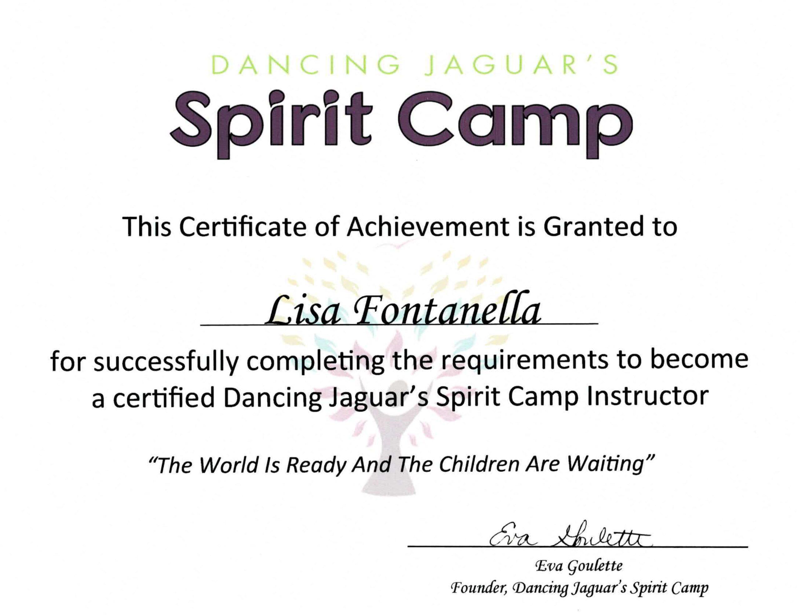 Spirit Camp Teacher Training Certificate July_2020