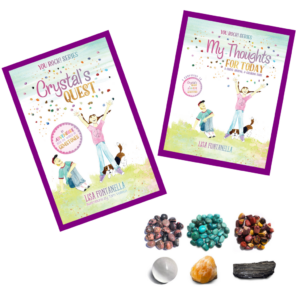 Children's reading book, coloring book and gemstones