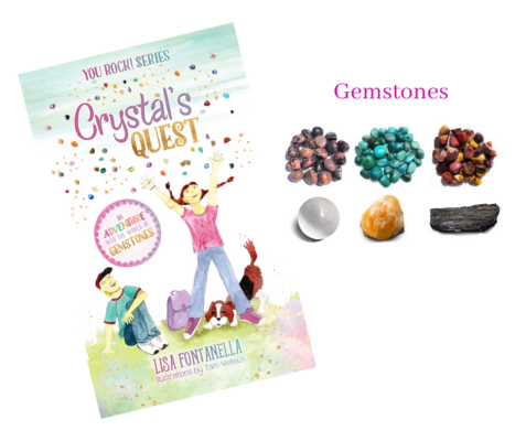 Get your copy of Crystal's quest with a set of Crystal's gemstones! You'll receive one of each – Rhodonite, Chrysocolla, Mookaite, Orange Calcite, Black Tourmaline, Selenite.