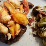 Surf & Turf - Air Fried Ribeye with Lobster and Bacon Parmesan Brussels Sprouts