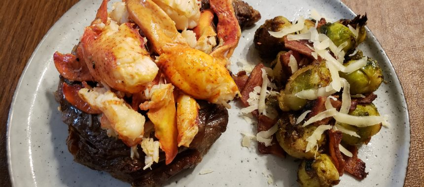 Surf & Turf – Air Fried Ribeye with Lobster and Bacon Parmesan Brussels Sprouts