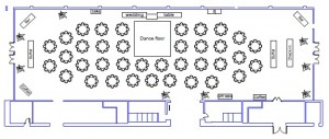 Wedding Floor Plan for 300 people at the downtown Renton Pavilion Event Center