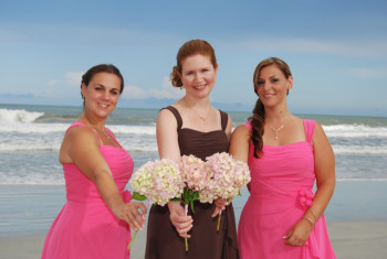 floral bouquets beach wedding