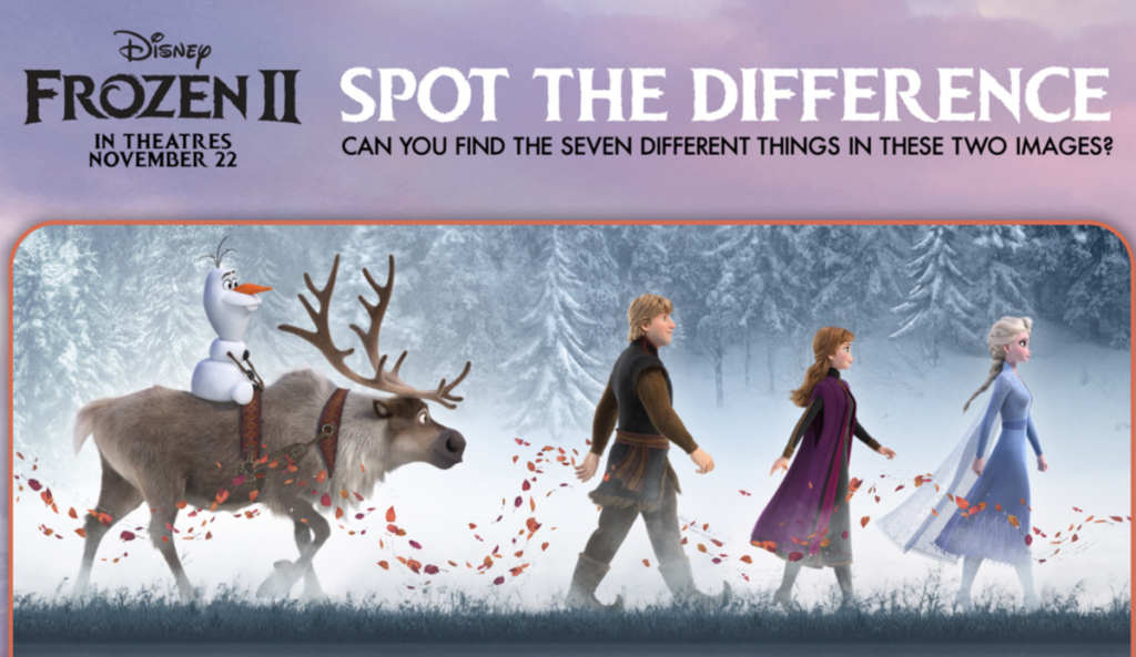 Frozen 2 Spot the Difference Printable