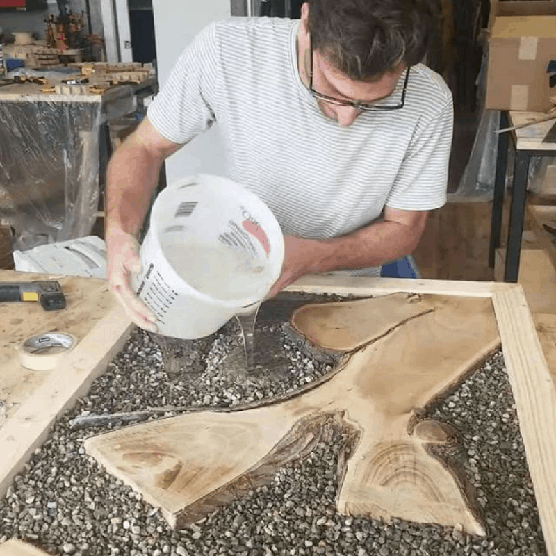 Pouring resin over pebbles will create an amazing look!
