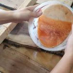 Swirled copper woodworking resin