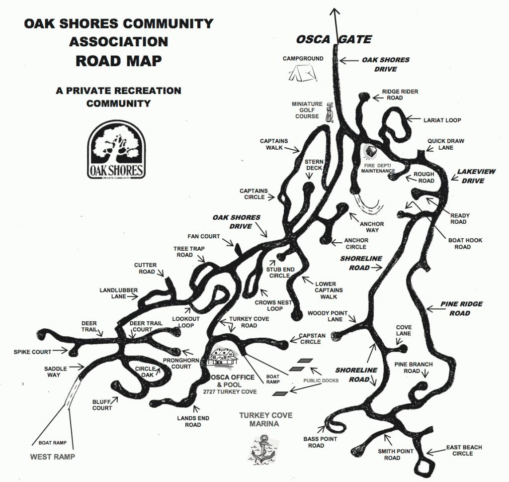 Map of the Oak Shores community