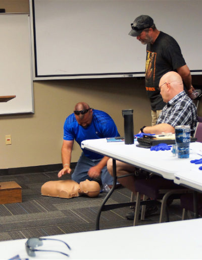 Photo of a student learning CPR