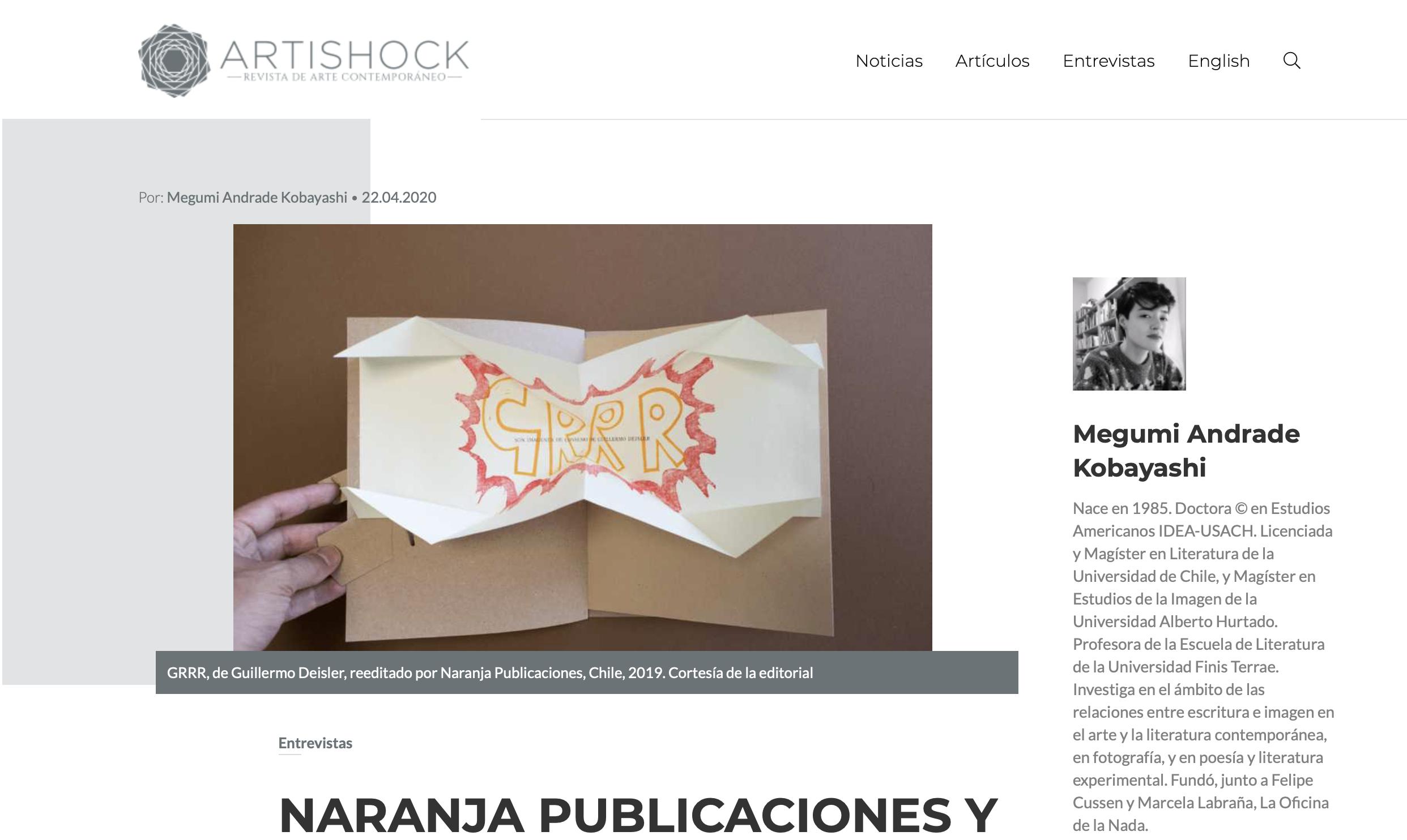 Entrevista de Megumi Andrade a Naranja en Artishock