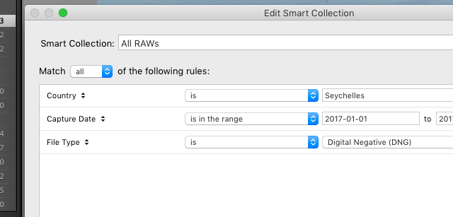 Creating a smart collection in Lightroom to hold all the RAW images