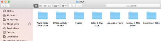 Screenshot showing terrible organization structure for photos - events, people, dates all jumbled together - Lightroom