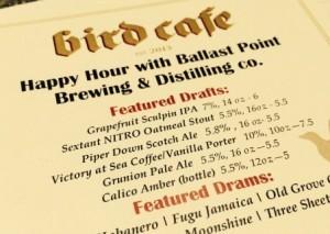 Ballast Point happy hour beer menu