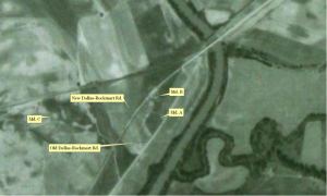 Figure 7. 1943 Aerial Photograph Showing the Leake Mounds (Agricultural Stabilization and Conservation Service 1943), annotated?