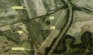 Figure 5. 1938 Aerial Photograph Showing the Leake Mounds (Agricultural Stabilization and Conservation Service 1938), annotated?