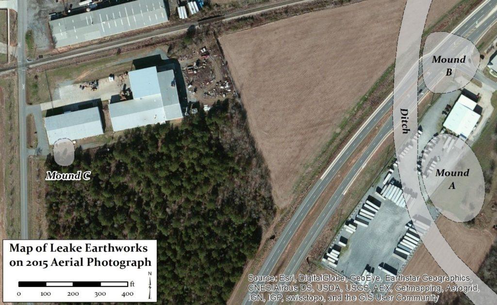 Figure 12. Leake Site earthworks and modern development.