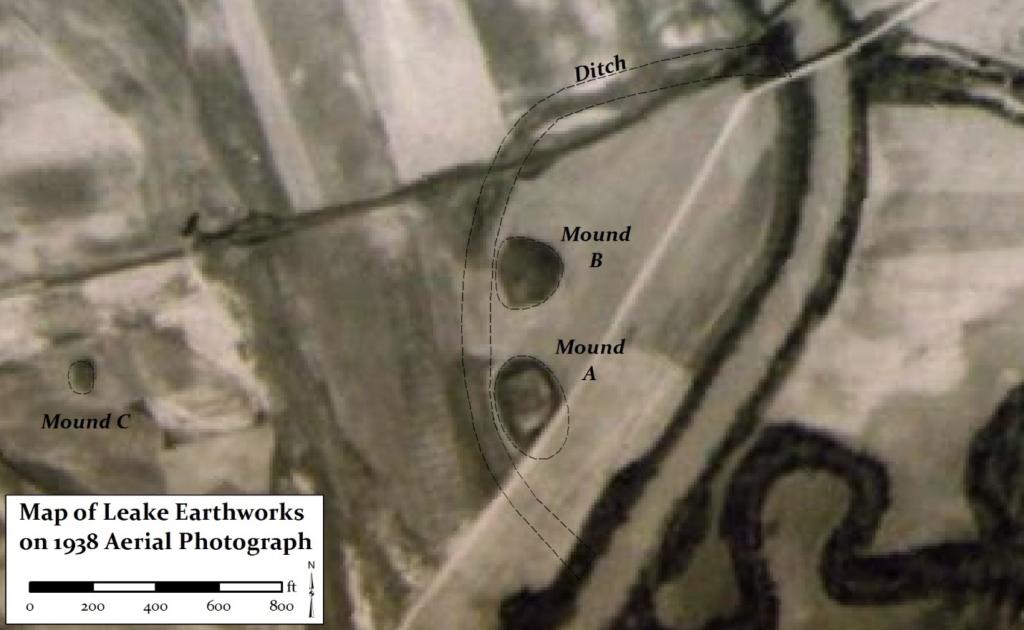 Figure 13. Leake Earthworks on 1938 aerial photograph.