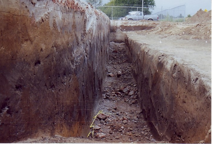 Figure 15. Photograph facing south along a trench excavated to inspect the ditch.