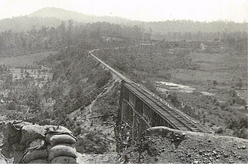 W&A RR Etowah River Bridge, southerly view from northeast Federal Battery position, 1864