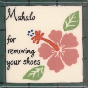 """Pink Hibiscus Remove Shoes 4"""" Tile"""
