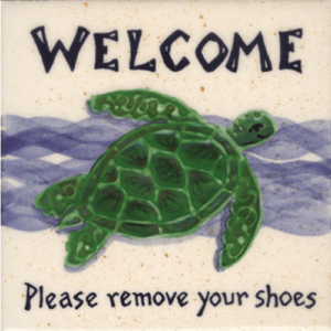 Turtle Please Remove Shoes Tile 4 Inch