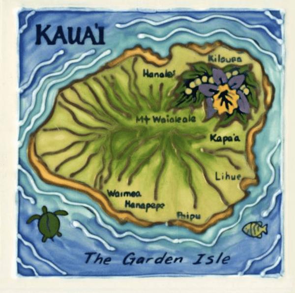 Island of Kauai Map Tile