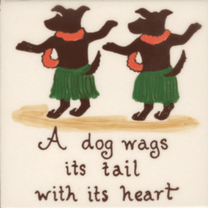 """A Dog Wags its Tail 4"""" Tile"""