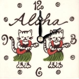 """Aloha Kitty 4"""" Clock"""