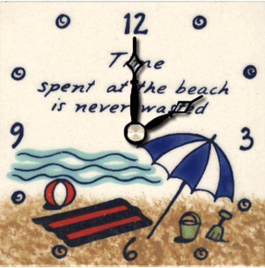 "Time Spent Beach 4"" Clock"