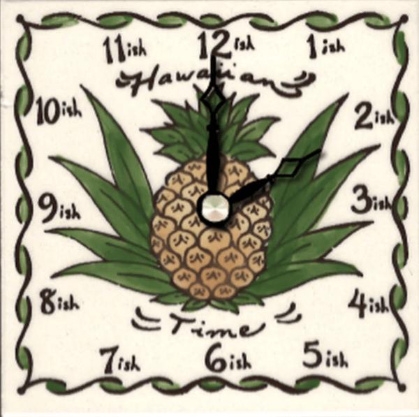 "Hawaiian Time Pine 4"" Clock"