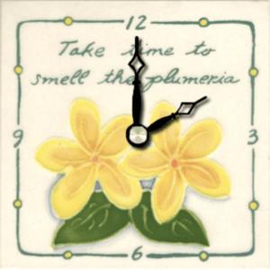 "Take Time Plumeria 4"" Clock"