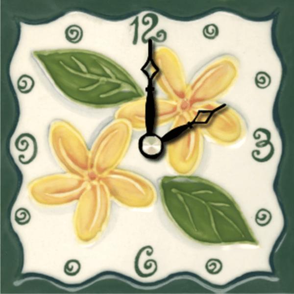 """Tropical Plumeria 4"""" Clock"""