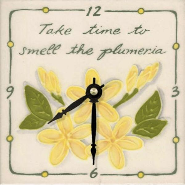 "Take Time Plumeria 6"" Clock"