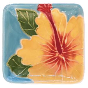 """3"""" Sushi Sauce Dish Embossed Yellow Hibiscus"""