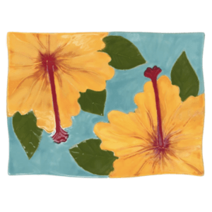 Flare Sushi Plate Embossed Yellow Hibiscus