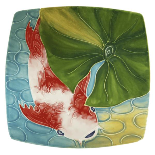 Square Plate Tropical Koi Fish