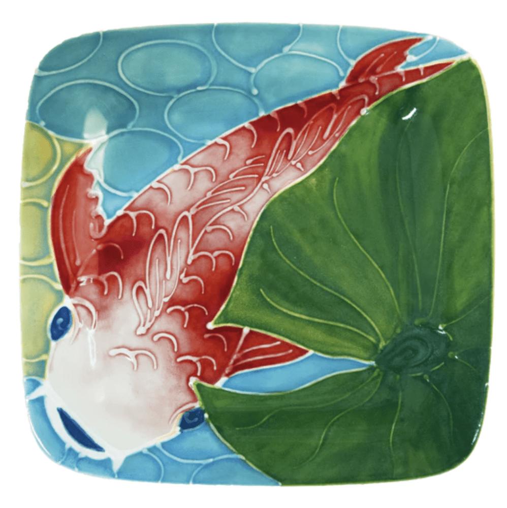 "8"" Square Rim Salad Plate Tropical Koi Fish"