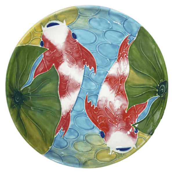 Round Coupe Plate Tropical Koi Fish